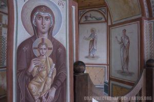 Архим. Зинон. Богоматерь с Младенцем - предалтарный образ. Пророки Исайя и Моисей - фрагмент росписи алтаря.