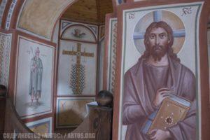 Архим. Зинон. Спаситель - предалтарный образ и фрагмент росписи алтаря - Аарон с процветшим жезлом и процветший крест.