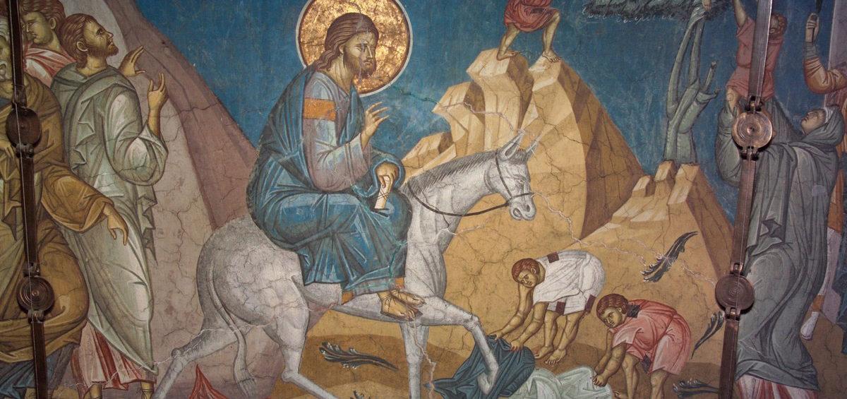 Вход Господень в Иерусалим. Фреска.