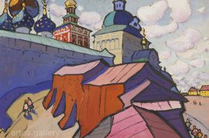 Юрий Химич. У стен лавры. Гуашь, 1968